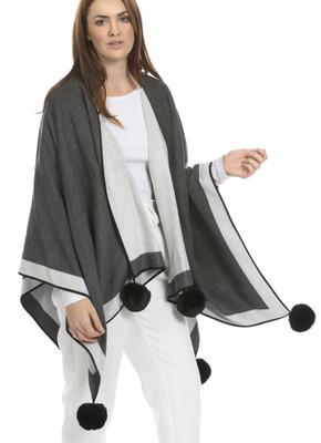 Cashmere Blend Faux Fur Pom Pom Wrap in Grey CSRF6821A-03M