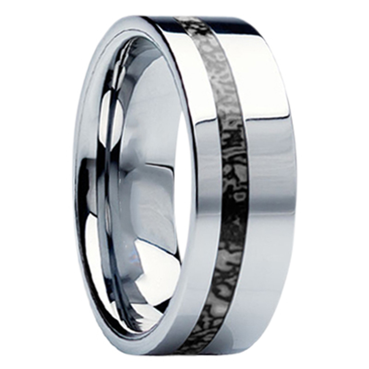 8 Mm Unique Mens Wedding Bands In Anium With Dinosaur Bone Inlay D116m