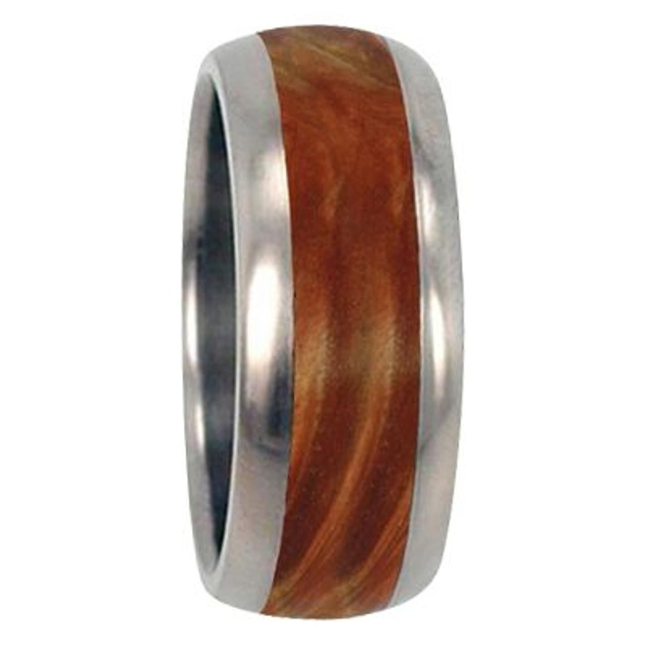 8mm Tungsten Carbide With 4mm Hawaiian Koa Wood Inlay