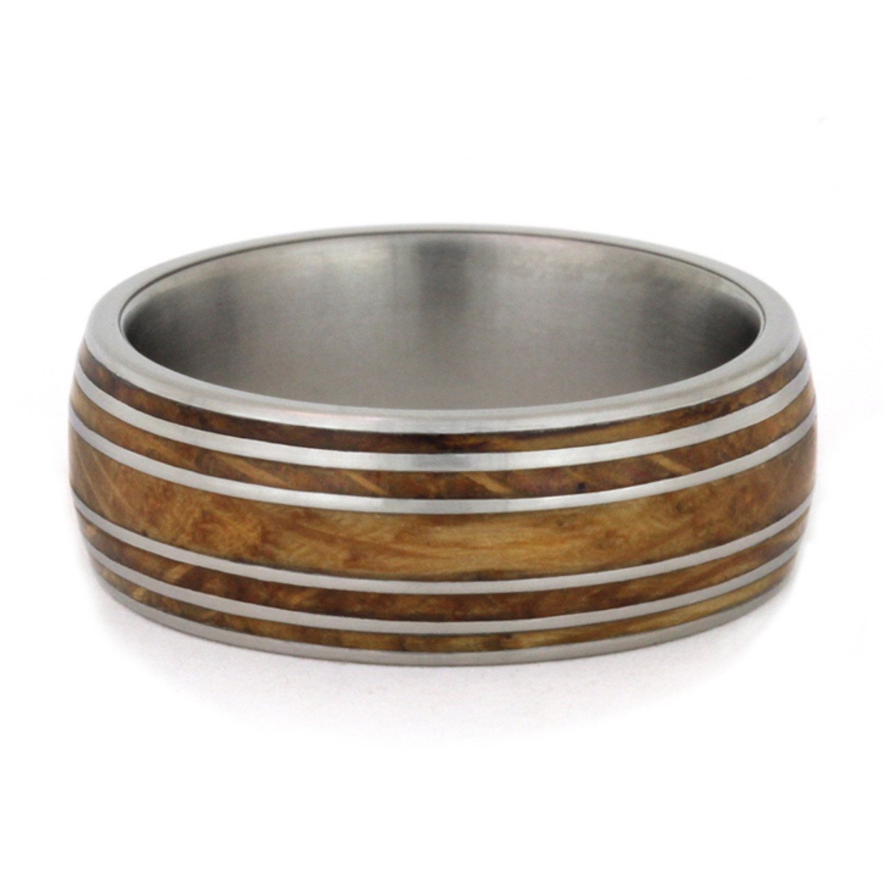 8mm Tungsten Carbide with 6mm Hawaiian KOA Wood Inlay K121M