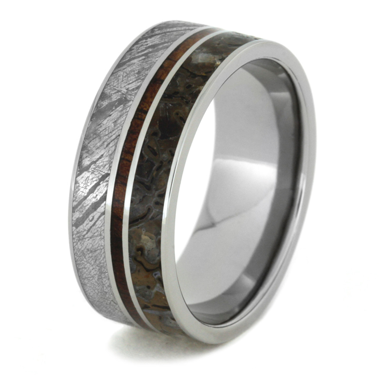 blue bone inlay mens ring wedding bands dinosaur beveled unique s tungsten new in men rings