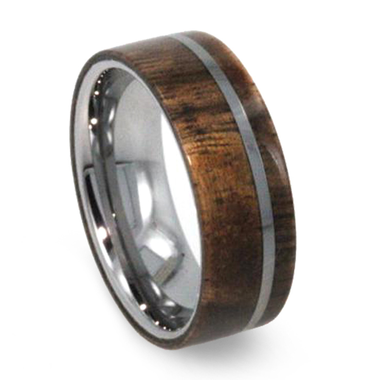 mens carbidetungsten rings band inlay bandtungsten black dome media edge wedding wood ring carbide tungsten