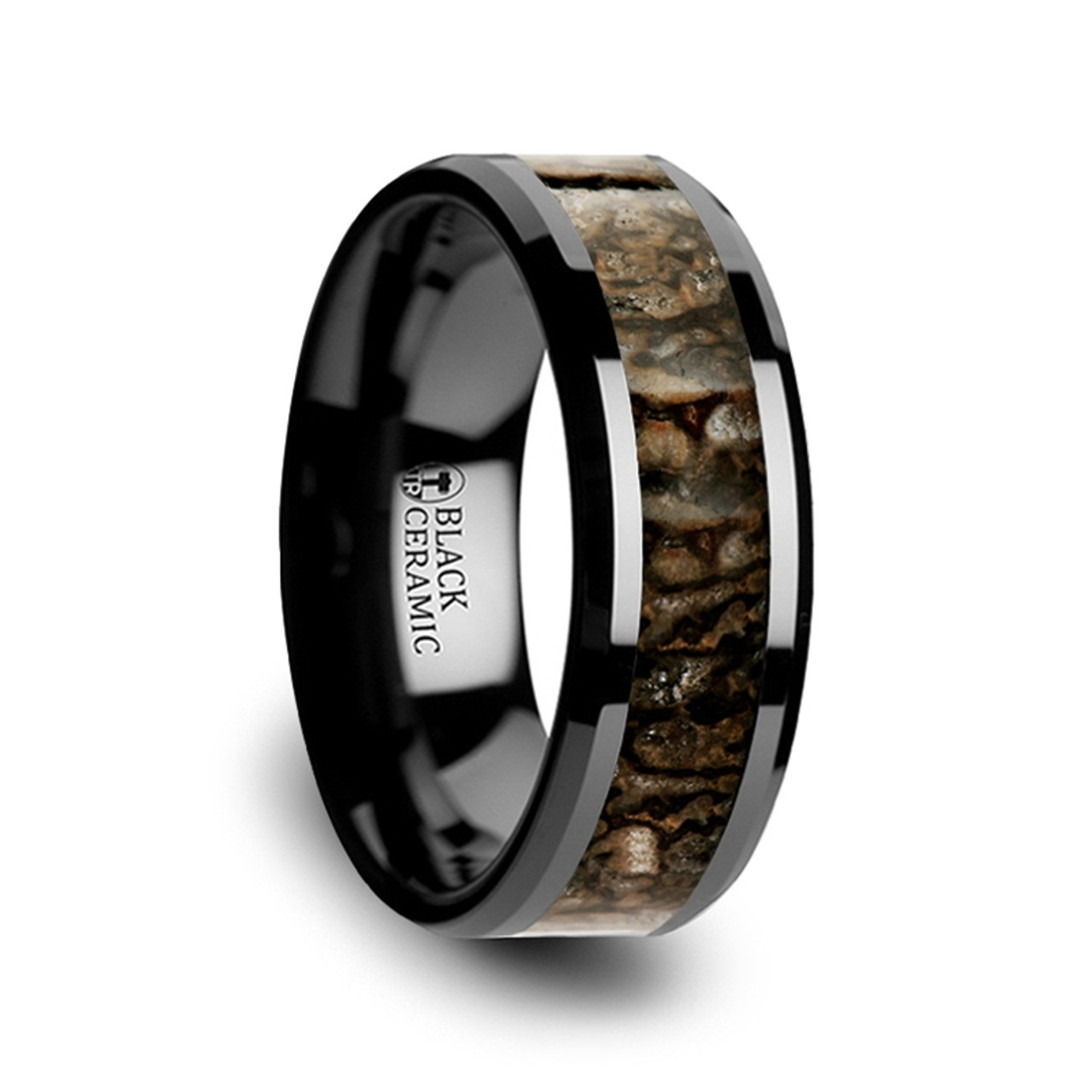 red wedding carbide band dyscinitus rings dinosaur tungsten with inlay bone