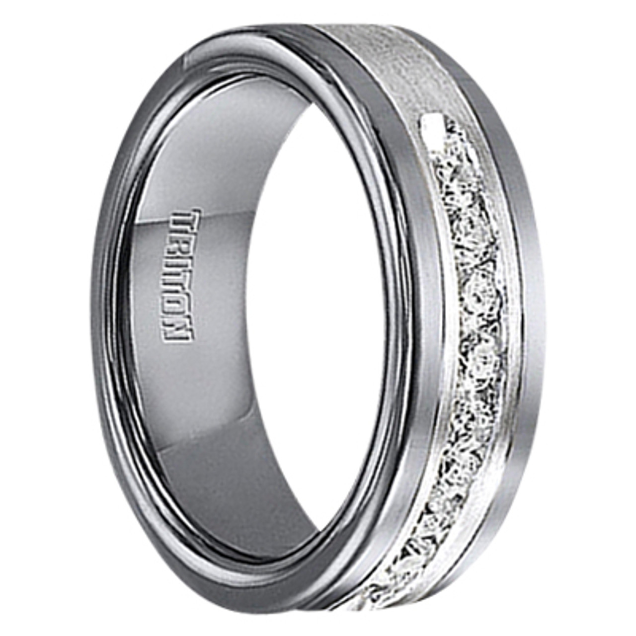 1/2 Cwt Diamond Unique Mens Wedding Bands In Sterling Silver   Tungsten    A388C