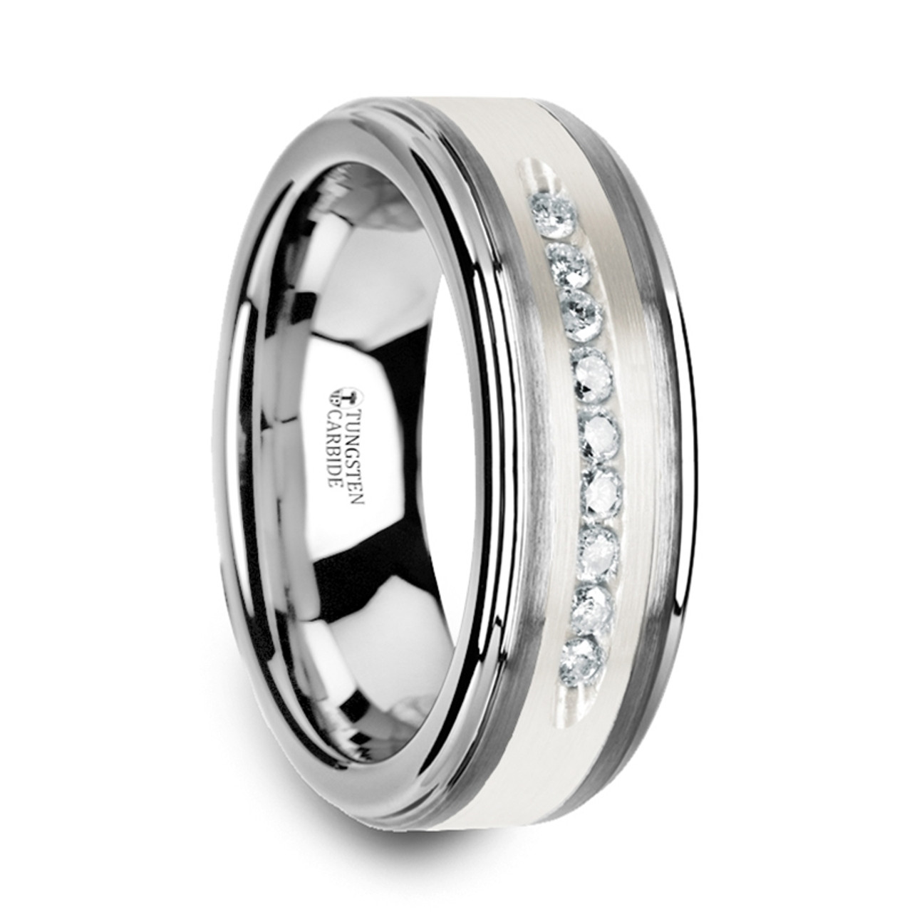 14 CWT DIAMOND ELEGANT MENS WEDDING BANDS TUNGSTEN Z218C MWB
