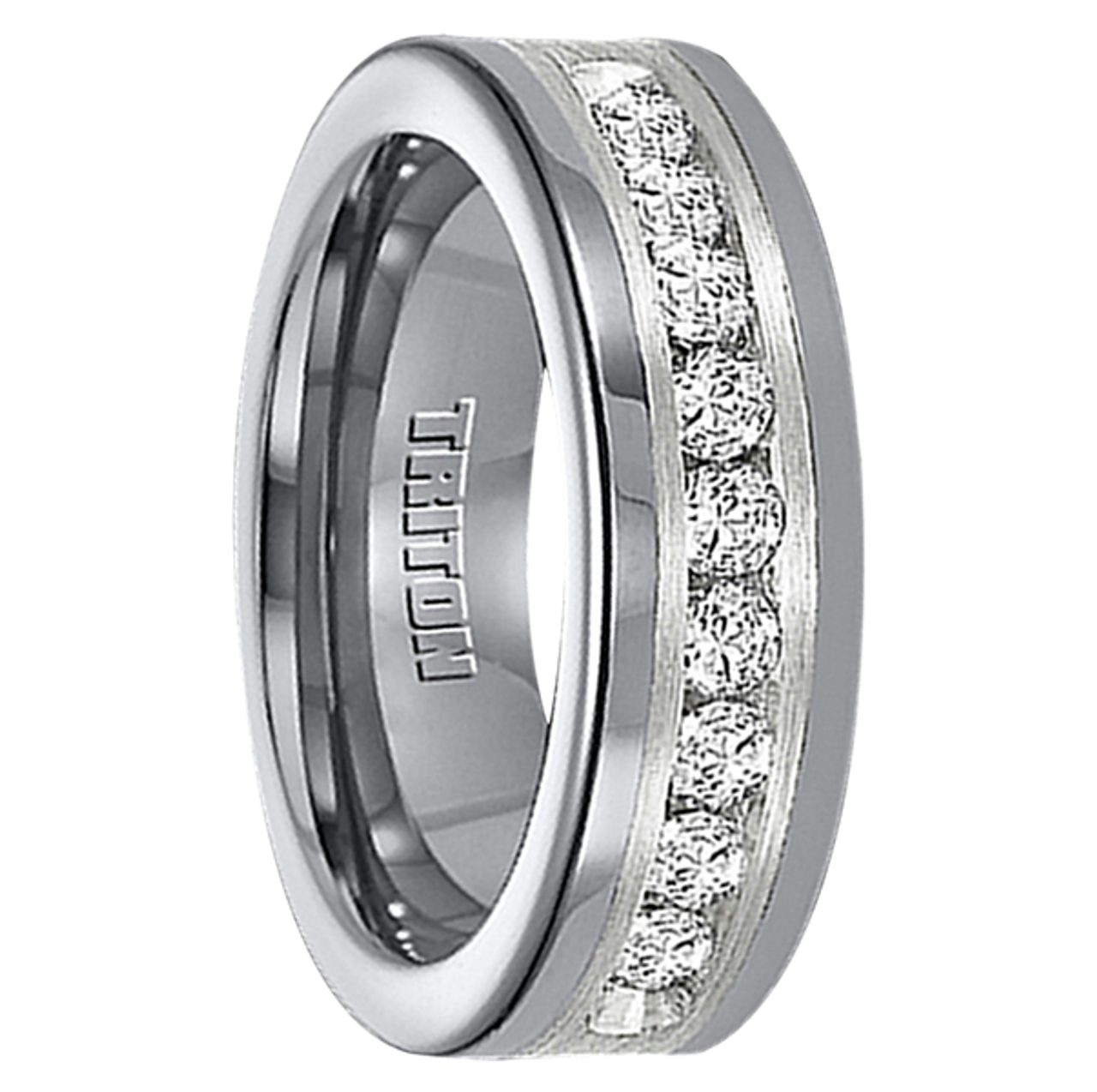 Triton 1 Carat Diamond Tunsten 8mm Wedding Band at MWB