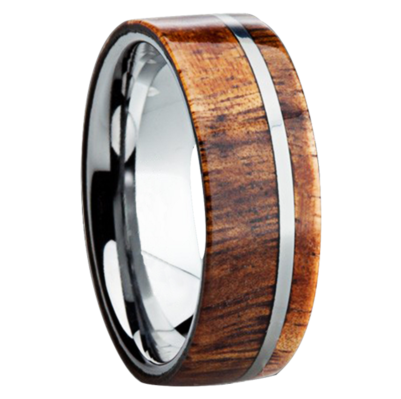 wood rings ceramic ario genuine inlaid koa inlay natural with hawaiian white high ring