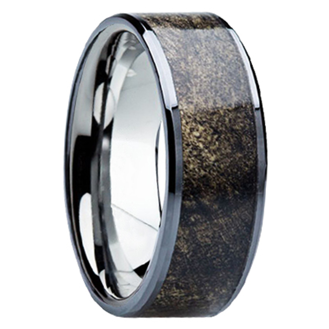 8mm Tungsten Carbide with Buckeye Wood Inlay B115M at MWB