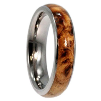 6 mm Titanium with Black Ash Burl Wood Inlay - B444M