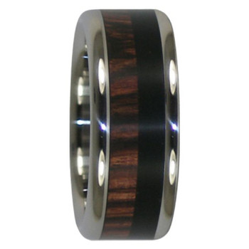 8 mm Unique Mens Wedding Bands in Kingwood and Black Ebony Inlay, Titanium - DD319H