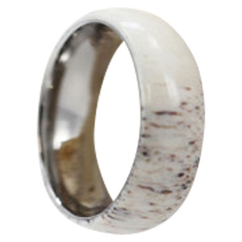 8mm Tungsten Carbide with Antler Inlay C121M at MWB