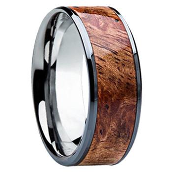 8 mm Unique Wedding Bands, Sindora Wood Inlay - S121M-Sindora