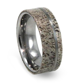 8 mm Deer Antler Mens Wedding Bands in Tungsten - T269M