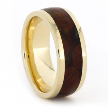 8 mm 14 Kt Yellow Gold with Jasper Inlay - J768M
