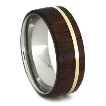 8 mm Unique Mens Wedding Bands in Titanium/Gold & Ipe Wood Inlay - A649M