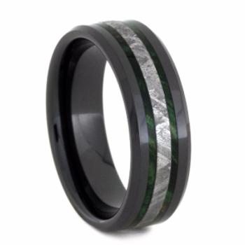 8 mm Mens Wedding Bands with Black Ceramic/Meteorite/Burl - BC150M