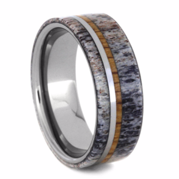 8 mm Deer Antler and Oak Wedding Band in Tungsten - TT207M
