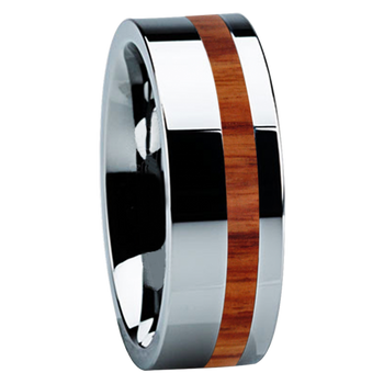 8 mm Unique Titanium Wedding Bands with Tulip Wood - B122M-Tulip