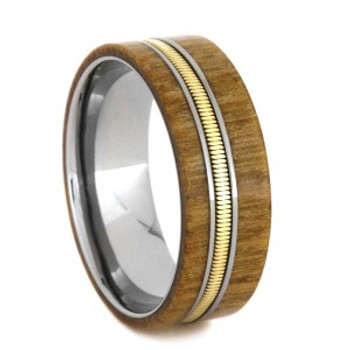 8 mm Unique Mens Wedding Bands - Wood Inlay/Guitar String - GS806M