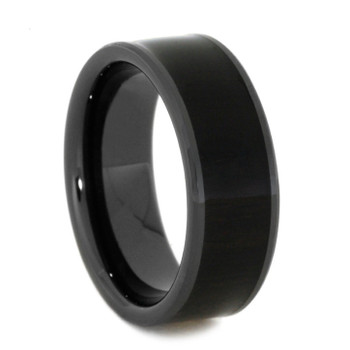 8 mm Black Ceramic Mens Bands & African Blackwood Inlay - AB840M