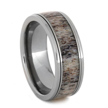 "8 mm ""Spinner"" Antler Mens Wedding Bands in Titanium  - SA992M"