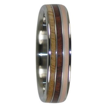 8 mm Mango/KOA Wood & 14 Kt. Rose Gold Inlay, Titanium - MK777H