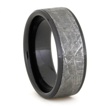 8 mm Unique Mens Wedding Bands with Black Ceramic/Meteorite - BC645M