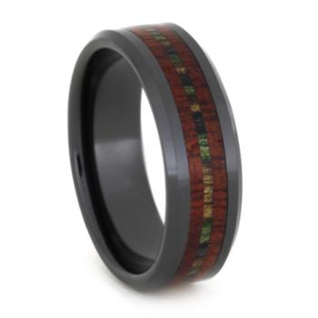 8 mm Unique Mens Wedding Bands - Black Ceramic & Bloodwood Inlay - BCB281M