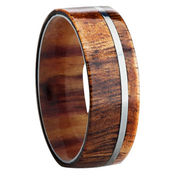 8 mm Wood Mens Wedding Bands in Titanium - K109M-KOA-Sleeve