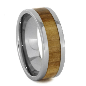 8 mm Mens Wedding Bands, Aspenwood Inlay Tungsten - D444C