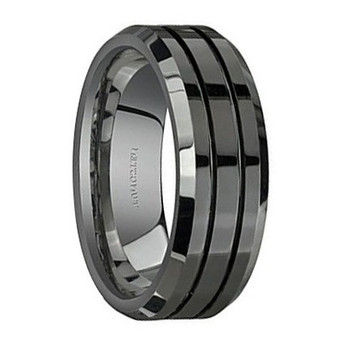 8 mm Grooved Black Tungsten Band, Lifetime Warranty - L999C