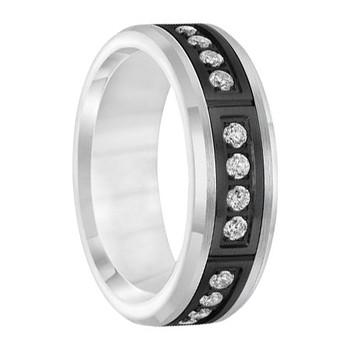 .42 cwt Diamond Ring White/Black Tungsten - D045MC