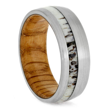 8 mm Antler Mens Wedding Bands, Oak Sleeve - DA702M