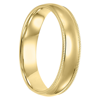 5 mm 10kt. Mens Wedding Bands in Yellow Gold Handcrafted - Brooklyn