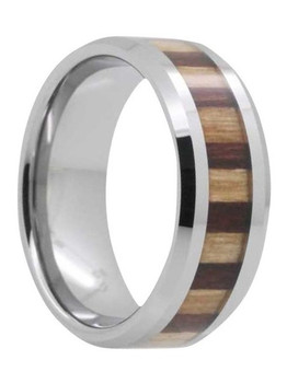 8 mm Mens Wedding Bands, Bamboo/KOA Wood Inlay Tungsten - E443C