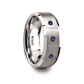 8 mm Tungsten Band with Blue Sapphires - N980TR