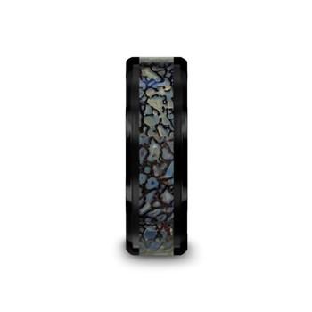 8 mm Black Ceramic Blue Dinosaur Bone Wedding Band - P314TR