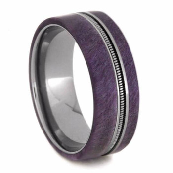 8 mm Unique Mens Wedding Bands - Wood Inlay/Guitar String - GS602M