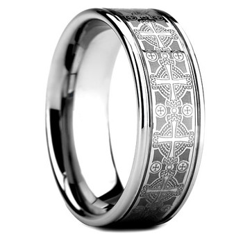 8 mm Tungsten Band with Cross Pattern Design - G608WG