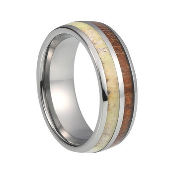 8 mm Tungsten with Antler and KOA Inlay - A938C