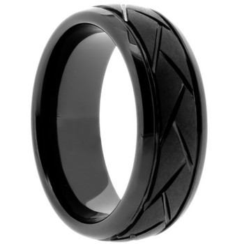 8 mm Black Ceramic Grooved Wedding Band - BC567WG