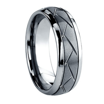 8 mm Brushed Tungsten Band with Carved Design - C456WG