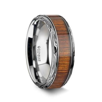 8 mm Unique Bands -  KOA Wood Inlay - K013TR