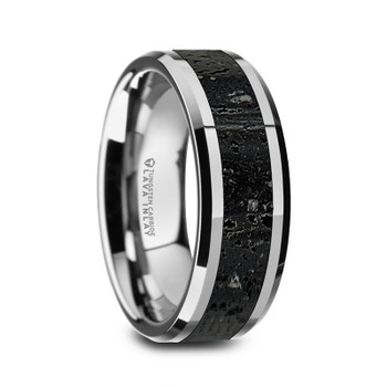 8 mm Tungsten Black/Gray Lava Rock - K491TR