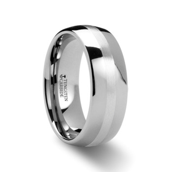 8 mm Tungsten/Silver Wedding Band - S884TR
