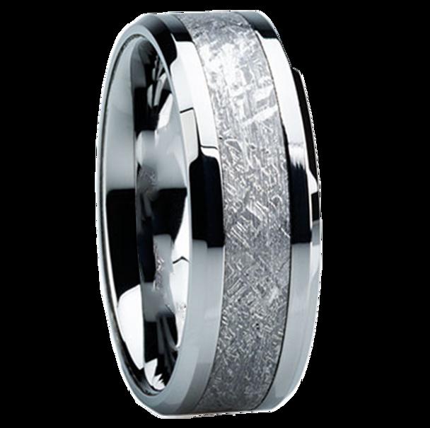 8 Mm Titanium Mens Wedding Bands With Meteorite   H119M