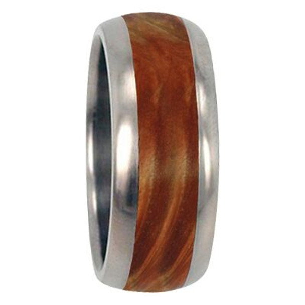 10 mm Unique Mens Wedding Bands - Titanium & Box Elder Burl Wood Inlay - G222M