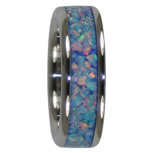 8 Mm Unique Mens Wedding Bands In Blue Fire And Ice Lab Opal Inlay Anium V111h