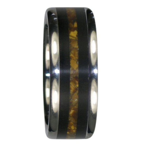 8 MM UNIQUE MENS WEDDING BANDS BLACK WOOD AND GOLD TIGERS EYE WOOD