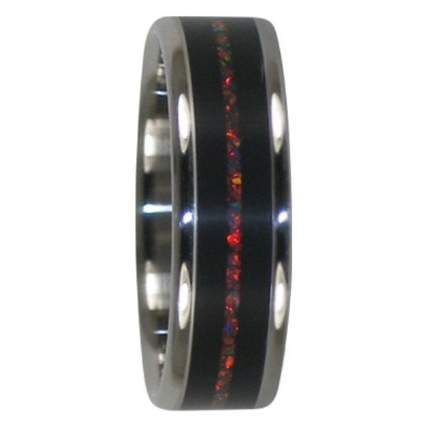 6 mm Unique Mens Wedding Bands in Black Ebony and Lab Red Opal Inlay, Titanium - RR111H